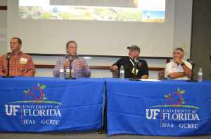 The Grower Panel at the 2013 Florida Ag Expo played to a packed session room. [From left] Michael Hill, Lakeshore Growers; Paul Orsenigo, Grower's Management Inc.; Tom O'Brien, C&D Fruit and Vegetable Co.; and Jamie Williams of Lipman participated in a lively discussion covering multiple topics including social media marketing, mentoring the next generation of farmers, adapting to challenges, and more. Photo by Paul Rusnak