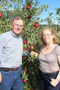 John Teeple (Teeple Farms, Sodus, NY) and Susan Brown (Cornell University apple breeder)