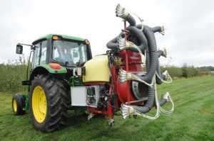 The intelligent sprayer can discharge variable spray rates based on plant structure needs.