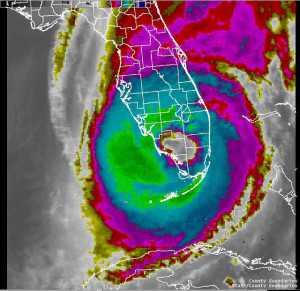Hurricane Wilma as it appeared on satellite as it roared across South Florida. Image courtesy of NOAA