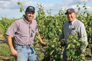 "Bruce Fry, left, and father Jerry in a vineyard of truly ""Old Vine Zin."" The Zinfandel block was planted in 1901. (Photo credit: David Eddy)"