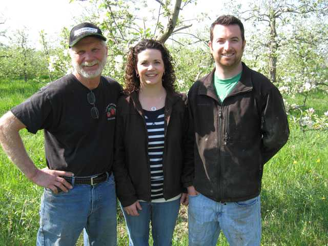 Jim Koan, pictured with daughter Monique Lapinski and son Zachary. Monique and Zachary represent the fifth-generation of Almar Orchards. (Photo credit: Monique Lapinski)
