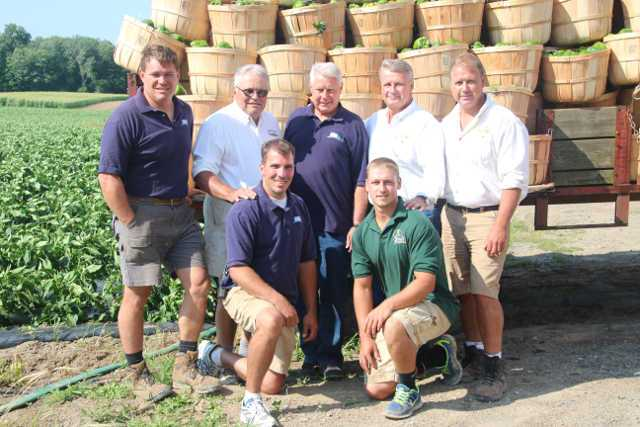 The Zittel family farms more than 300 acres of a variety of vegetable crops in New York. Pictured in the back row (L-R) are Mark, Paul, George, Bill, and Dave Zittel. In front are Kevin  (left) and Evan Zittel. Photo credit: Kristen Zittel Winiecki