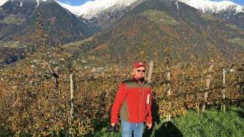 Win Cowgill poses at the Stefan Klotchner Farm in the town of Schenna Meran at about 700 meters in elevation. The apples in the background are Golden Delicious on M.9337, grown in a super-spindle system, planted approximately 4,000 trees per hectare. Golden Delicious accounts for 50% of the South Tyrol apple production. The best Gold Delicious trees are grown on the slopes at the higher elevations rather than the valley floor.