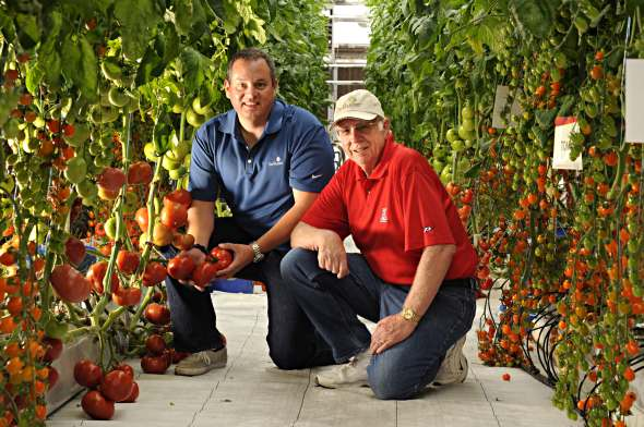 Pictured here are Merle Jensen (right) and  one of his former students, Damian Solomon, who is now with DeRuiter Seeds. Photo courtesy of Merle Jensen