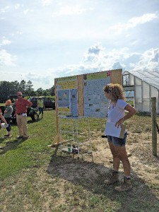 Christine Bradish explains her research at a field day at the Sandhills Research Station in Jackson Springs, NC. (Photo Credit: Gina Fernandez, NC State)