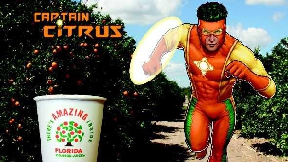 Captain Citrus running through an orange grove