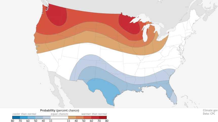 NOAA Temperature Outlook For Winter 2015-2016
