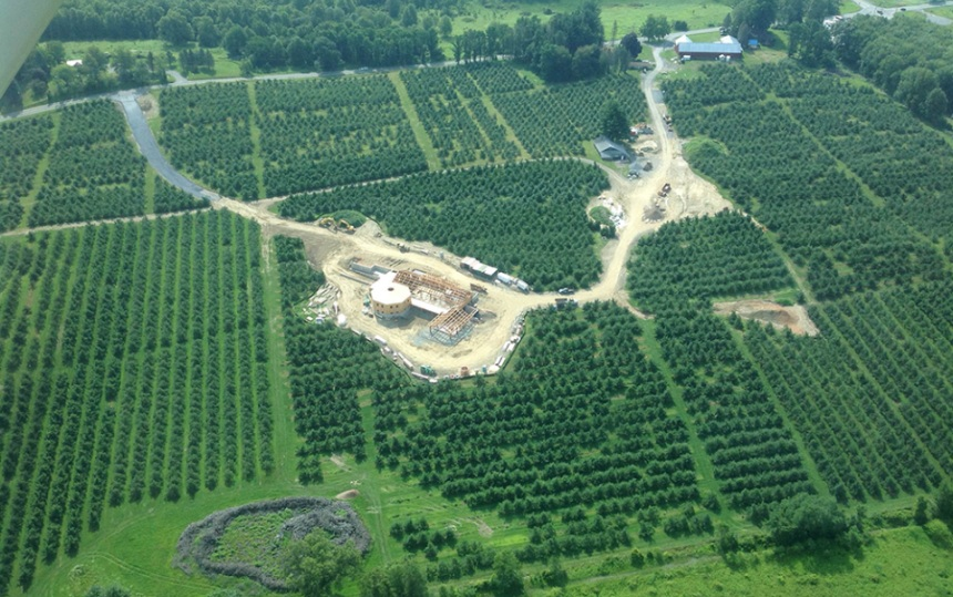 A bird's eye view of construction on Angry Orchard's new cider research facility in the Hudson Valley region of New York.