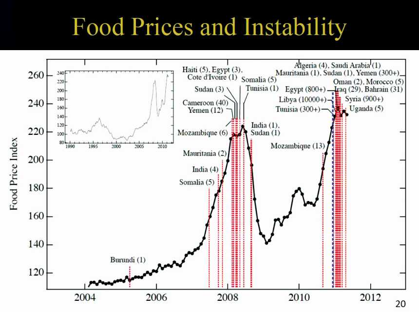 Chart showing food price index and instability around the world