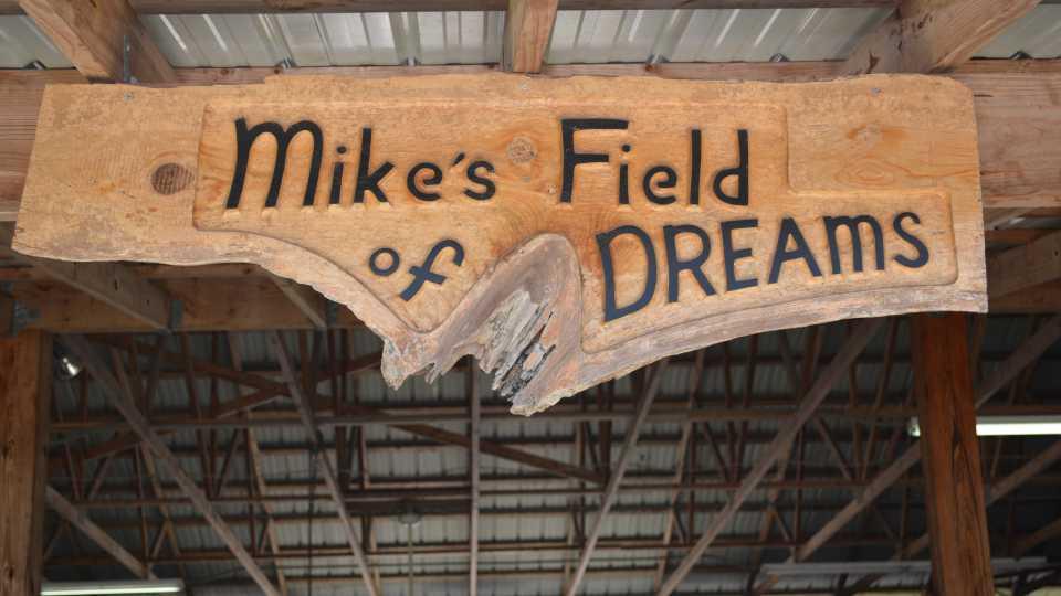 Custom Field of Dreams sign at 31 Produce