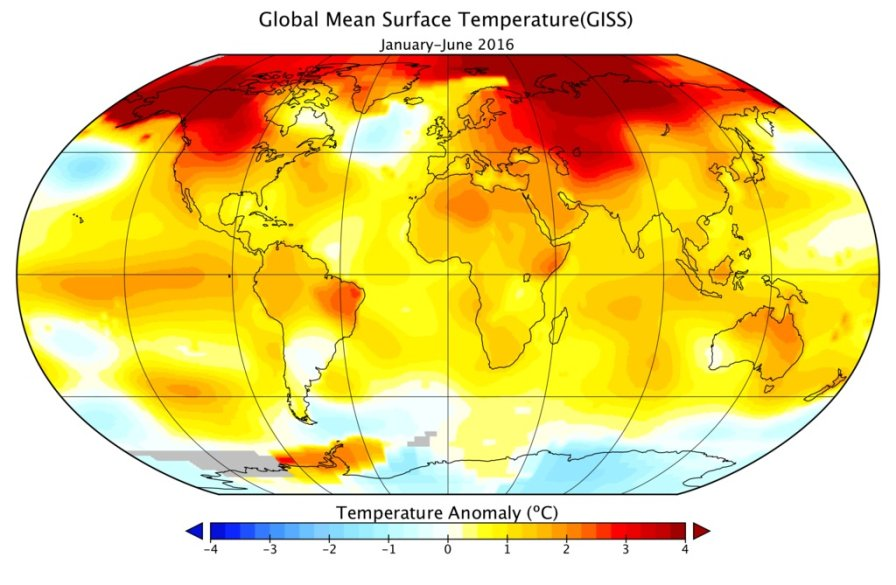 This color-coded map in displays global surface temperature anomalies for the period January 2016 through June 2016. Higher than normal temperatures are shown in red and lower then normal termperatures are shown in blue. (Credit: NASA/GISS)