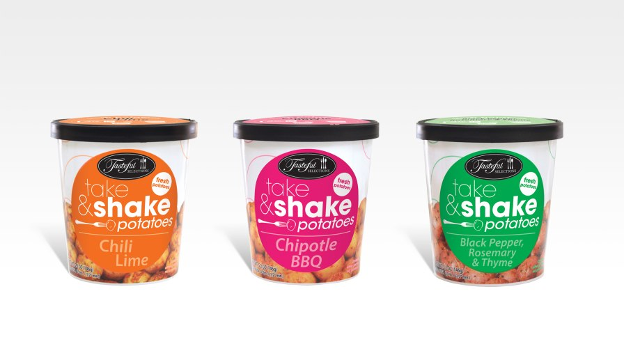 Tasteful Selections recently launched a 5-ounce cup of potatoes called Take & Shake that comes with a seasoning packet. A snack product, Take & Shake cooks in three minutes and is shelf stable for 21 days. Photo credit: Tasteful Selections