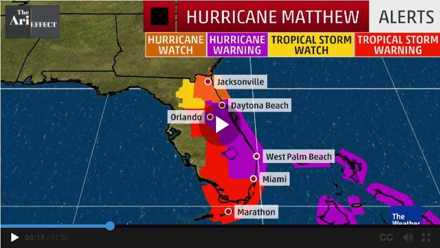 Hurricane Matthew alert map for Florida   Growing Produce