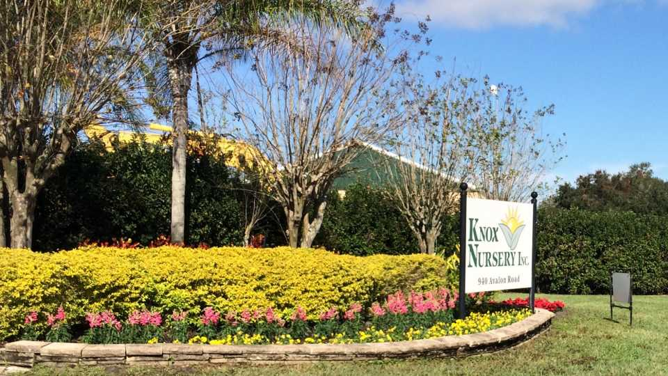 Welcome sign for Knox Nursery
