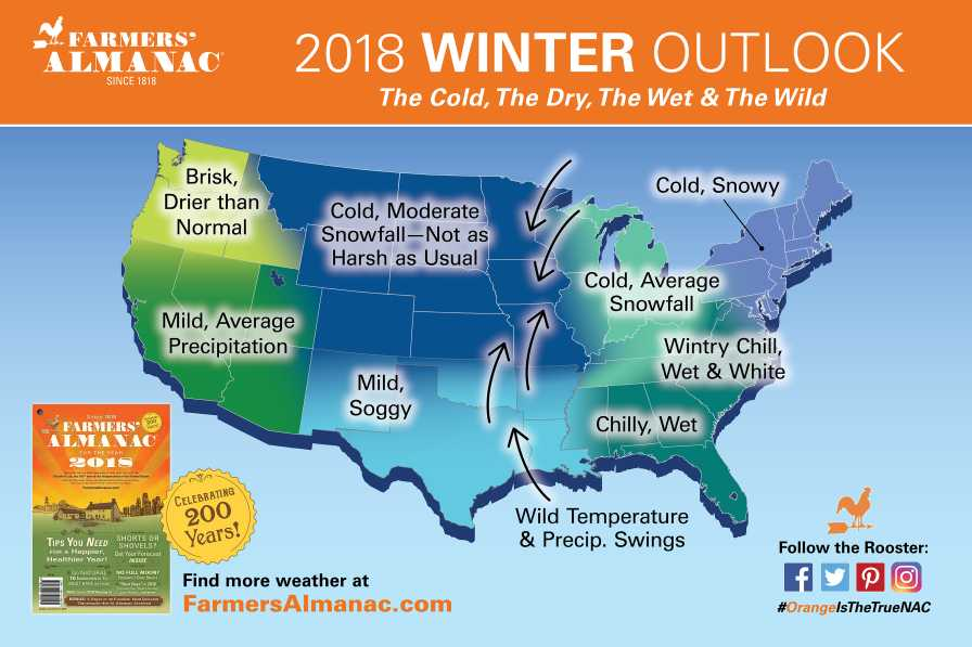 Farmers' Almanac 2018 Winter forecast map