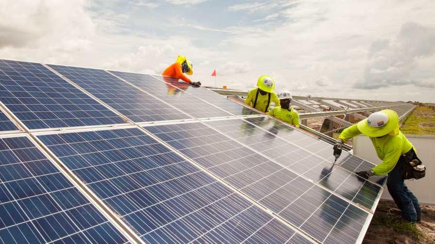 solar panel field construction in Florida