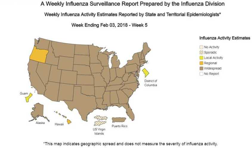 CDC weekly flu report map for early Feb. 2018