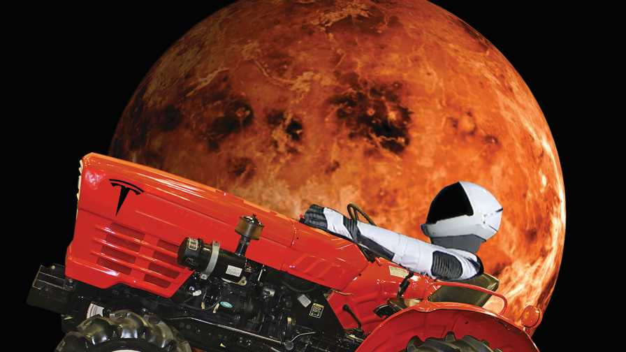 Spaceman riding past Mars in what appears to be a Tesla-powered farm tractor