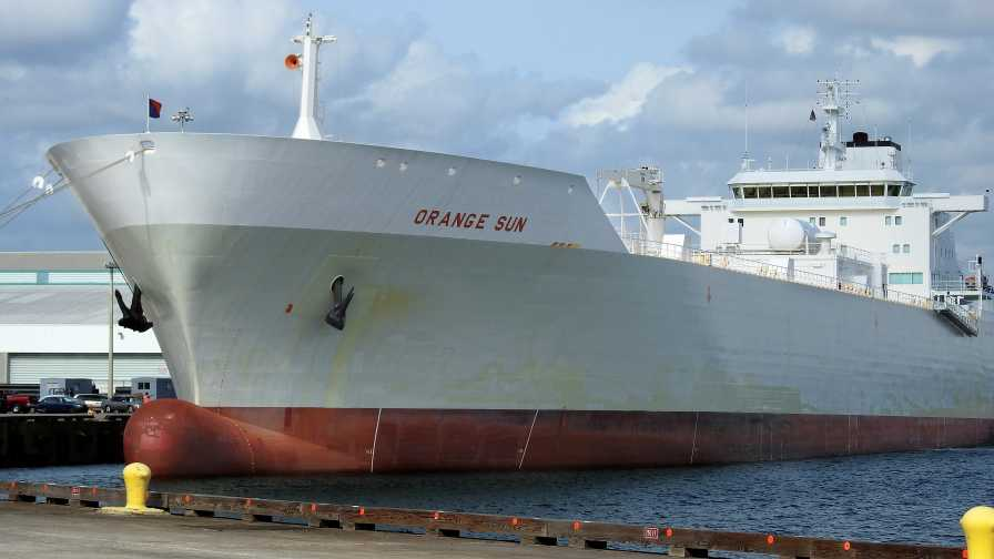 large freighter docked at Port Tampa Bay