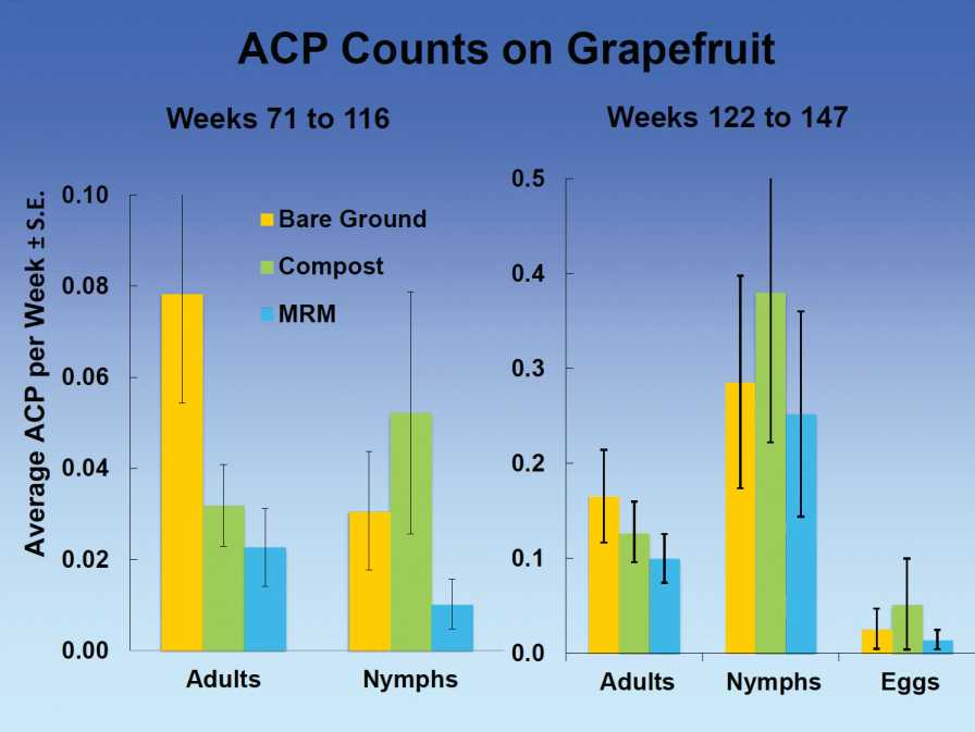 Graphic showing reflective mulch trial results on grapefruit
