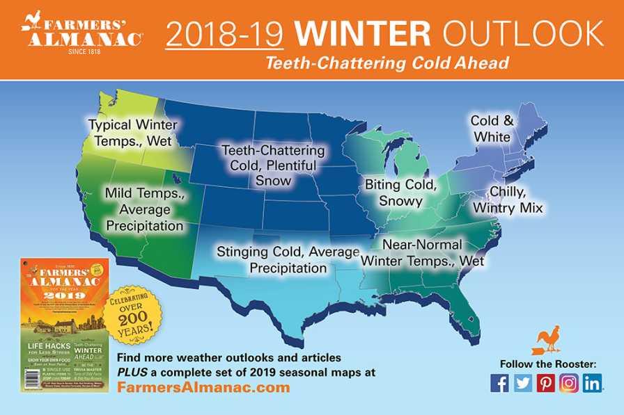 Farmers' Almanac Winter 2019 forecast map