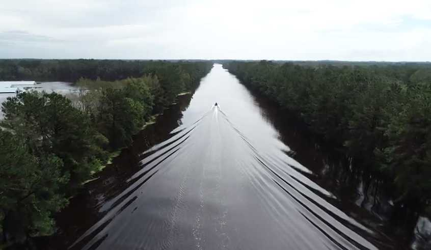 Flooded Interstate 40 in North Carolina after Florence