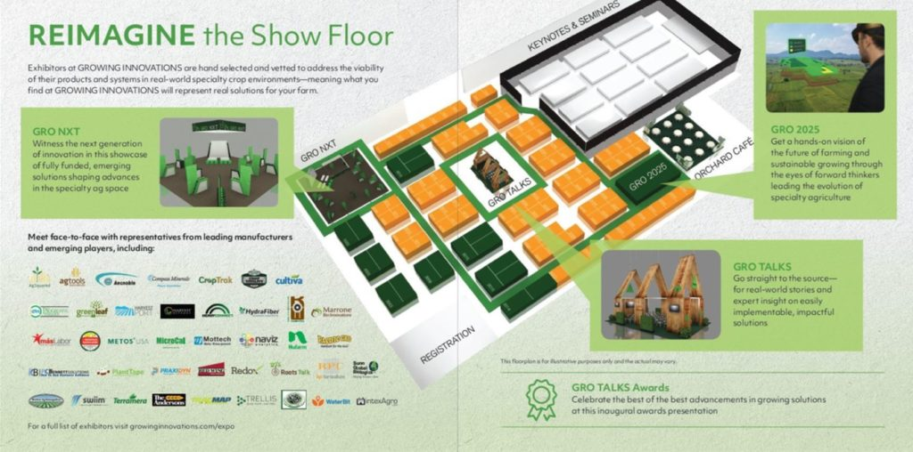 brochure illustrating the tradeshow floor for 2018 Growing Innovations