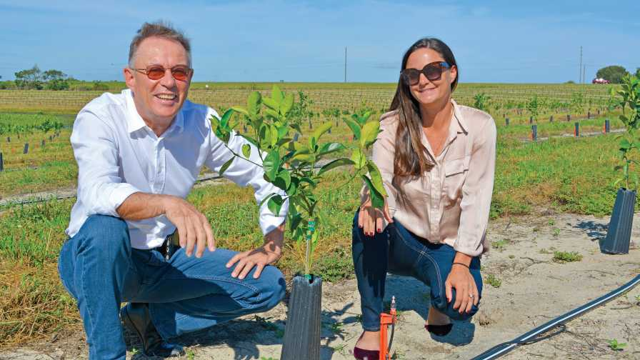 Michel Sallin and Melanie Ressler of IMG Citrus pose with young citrus planting
