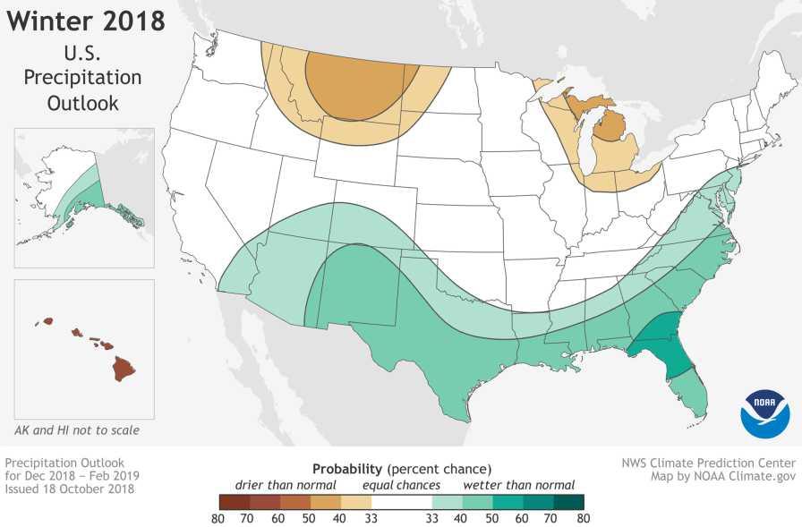 NOAA Winter 2018-2019 precipitation outlook map