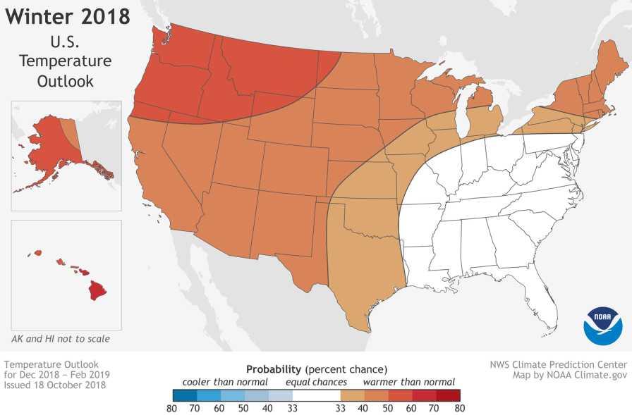 NOAA winter 2018-2019 temperature outlook map