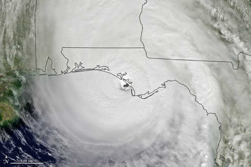 Hurricane Michael satellite image at landfall in Florida