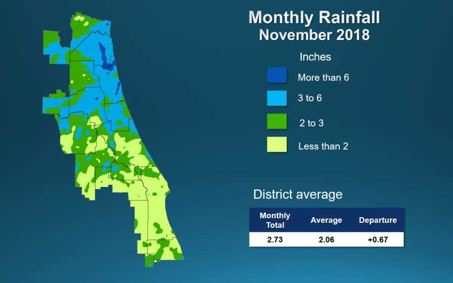 St. Johns River Water Management District rainfall map for Nov. 2018