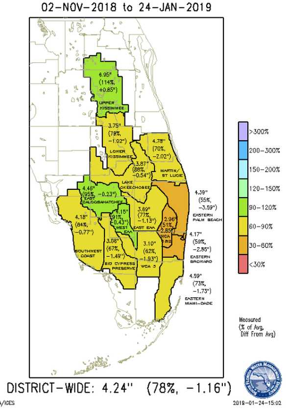 South Florida seasonal rainfall map 2018-2019