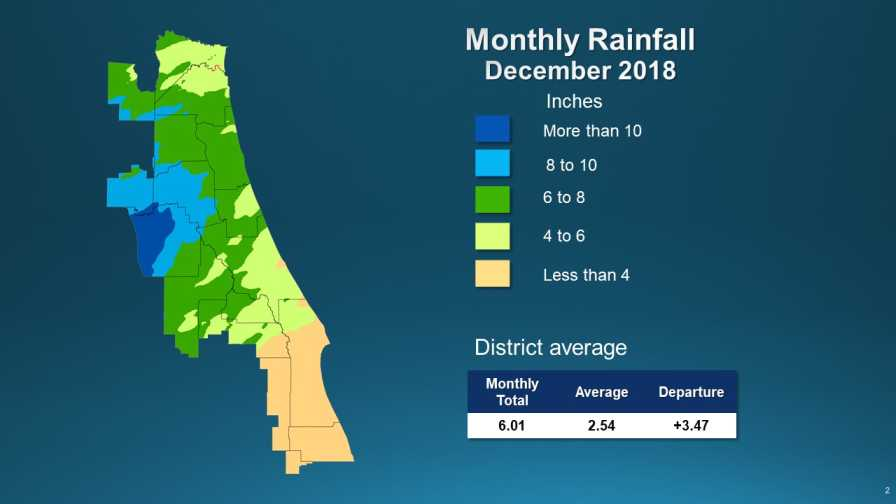St. Johns River Water Management District Dec. 2018 rainfall map
