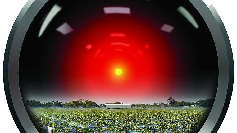 Artificial intelligence eye piece staring over a farm