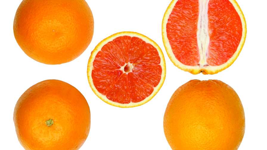 'Ruby' red Valencia orange cross sections