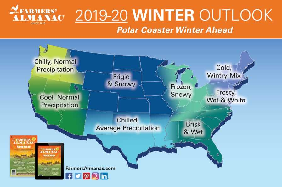 Farmers' Almanac winter weather map for 2020