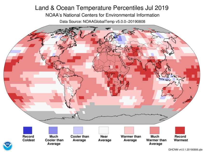 NOAA global temperature map for July 2019