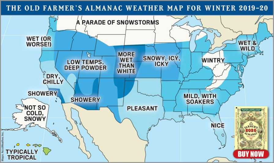 The Old Farmer's Almanac 2020 weather map