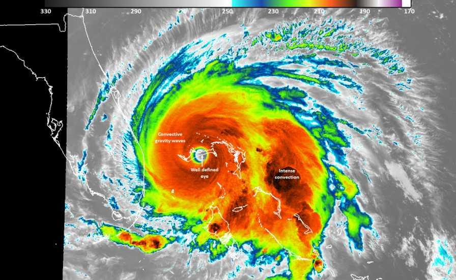 Satellite imagery of Hurricane Dorian buzz-sawing toward Florida