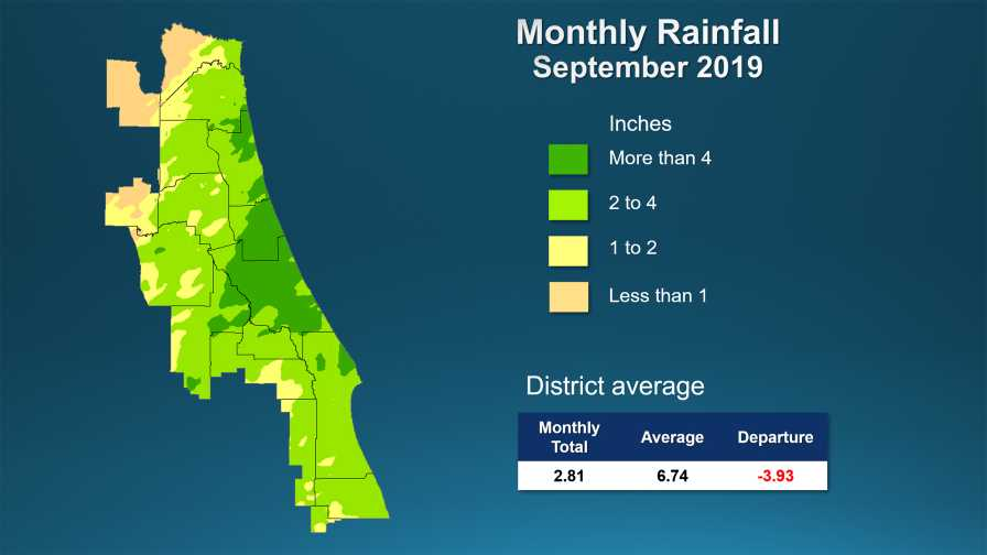 Central Florida rainfall map for Sept. 2019